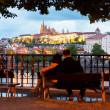 Prague, Czech Republic Night panorama of Hardcany with Vltava river — Stockfoto