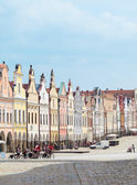 Telc, Czech Republic - May 10, 2013: Unesco city. A row of the houses on main square. — Stock Photo