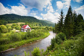 Rural view with river and single house in Bieszczady mountains, Poland — Stock Photo