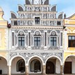 Facade one from a renaissance houses on main square in Telc, Czech Republic Unesco city — Stock Photo