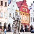 Stock Photo: Telc, Czech Republic Old UNESCO city Old sculpture of saint Marketpatroness of Telc city Sculpture made in second part of XVII century