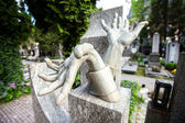 Stony sculpture hands on Vlasta Burian grave in Vysehrad cemetery in Prague Vlasta Burian Josef Vlastimil born in 1891, died in 1962 Nicknamed the King of Comedians — Stock Photo