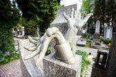 Stony sculpture hands on Vlasta Burian grave in Vysehrad cemetery in Prague Vlasta Burian Josef Vlastimil born in 1891, died in 1962 Nicknamed the King of Comedians — Stock Photo