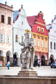 Telc, Czech Republic Old UNESCO city Old sculpture of saint Marketa patroness of Telc city Sculpture made in second part of XVII century — Stock Photo