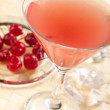 Stock Photo: Red drink with cherry