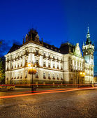 Night view of the Neo-Renaissance town hall in Bielsko-Biala, Poland — Stock Photo