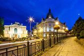 Bielsko-Biala, Poland - August 14 Night view on the theater and main post office in Bielsko-Biala Main street view — Stock Photo
