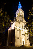 Night view of the Evangelical Church in Cieszyn It is the largest Protestant church in Poland — Stock Photo