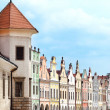 Telc, Czech Republic - May 10, 2013  A row of old Renesaince houses  One of the most beautiful markets in Europe  UNESCO World Heritage Site — Stock Photo
