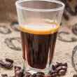Hot coffee in glass — Stock Photo