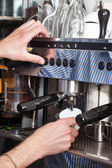 Coffee machine preparing cup of coffee, process of preparation of coffee — Stock Photo