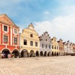 Telc, Czech Republic - May 10, 2013  Unesco city  A row of the houses on main square  — Stock Photo