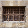 Horizontal old window with rusty bars — 图库照片