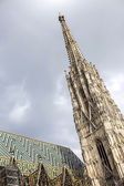 Vienna, Austria Fragment of St. Stephen s Cathedral in Vienna with main 136 meter high tower. Cloudy sky above the tower. — Stock Photo