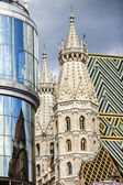 Two side Romanesque towers on the west front of the St. Stephen s Cathedral in Vienna, Austria. — Stock Photo
