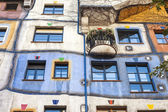 Vienna, Austria. Detail picture of the Hundertwasserhaus, colored building. — Stock Photo