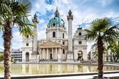 Vienna, Austria - September 01, 2013: Karlskirche St. Charles Church. Baroque church located on Karlsplatz in Vienna. — Stock Photo