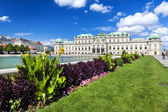 Vienna, Austria - September 01, 2013: Upper Belvedere building in Vienna baroque style. The building was completed in 1723. Sunny picture of the building with soft white clouds above. — Stock Photo