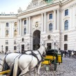 Stock Photo: Vienna, Austri- August 30, 2013: Main entrance to Hofburg palace Horse-drawn carts waiting for tourists at main gate to Hofburg Palace in Vienna