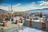 Panorama of city Bielsko-Biala Visible CHP, and mountains - Beskid Slaski and Beskid Maly — Stock Photo
