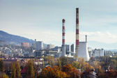 Power plant CHP in Bielsko-Biala in Poland Autumn view from Sulkowski castle — Stock Photo