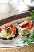 Aubergine with cheese mozarella — Stock Photo