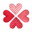 Four hearts make rosette, isolated. Valentines Day — Stock Photo