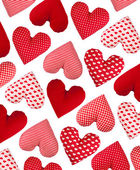 Oblique pattern made of hearts, isolated. Valentines Day — Stock Photo