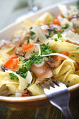 Papardele con porcini - macaroni with mushrooms — Stock Photo