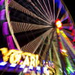 Abstract long exposure picture of highlighted giant ferris wheel in Prater Amusement Park in Vienna — Stock Photo #43613273