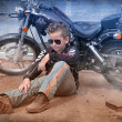 Boy on motorbike — Stock Photo