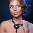 Woman and necklace full head shoot — Stock Photo