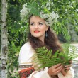 Woman in traditional Russian (slavic) costume — Stok fotoğraf #49653415