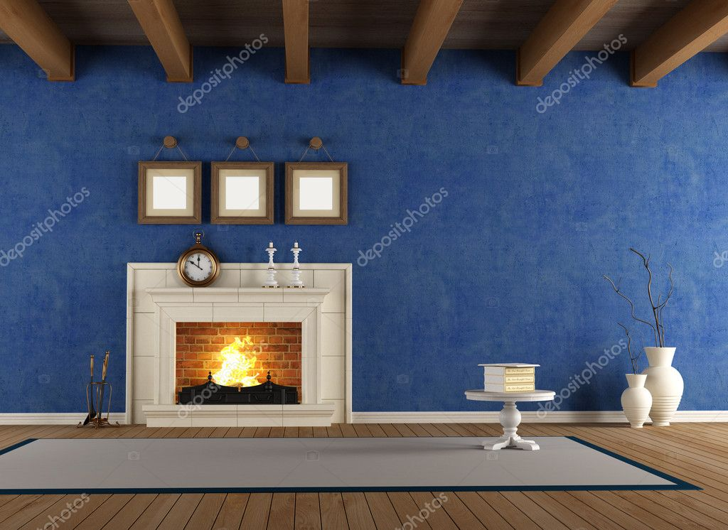 Blue vintage interior with classic fireplace and wooden ceiling  Stock Photo #12777967