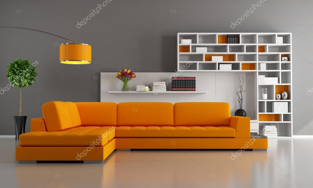 Contemporary livingroom with orange sofa and bookcase - rendering — Stock Photo #12778253