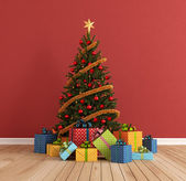 Red Christmas room — Stock Photo