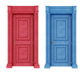 Red and blue doors vintage doors — Stock Photo
