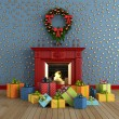 Christams room with fireplace — Stock Photo