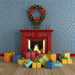 Royalty-Free Stock Photo: Christams room with fireplace