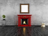 Vintage room with fireplace — Stock Photo