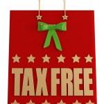 Tax free christmas shopping bag — Stock Photo