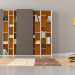 Empty living room with bookcase — Stock Photo