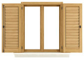 Wooden window with open shutter — Stock Photo