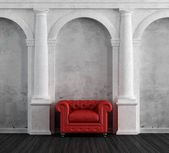Red armchair in a luxury classic home — Stock Photo