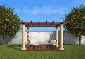 Relax in the garden under a gazebo — Stock Photo