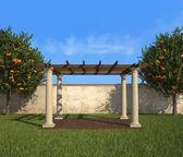 Lusthus i en solig trädgård — Stockfoto