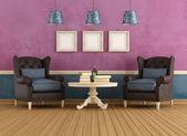Salon vintage violet et bleu — Photo