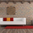 Stock Photo: Vintage living room with modern couch