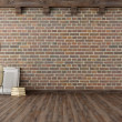 Empty vintage interior with brick wall — Stock Photo