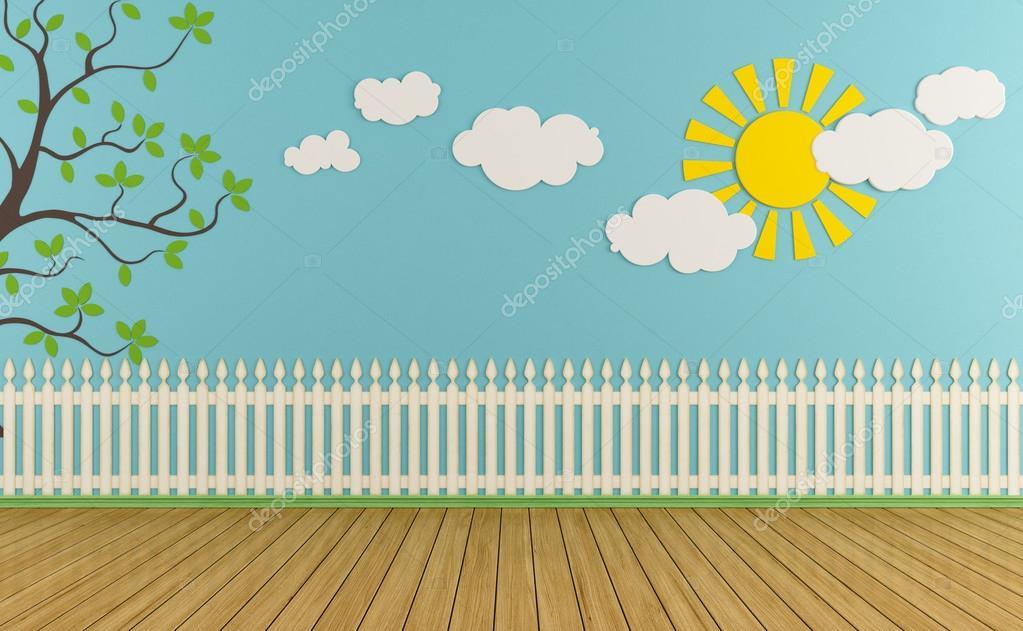 空木栅栏, 太阳, 云彩和草地上蓝色墙-儿童房呈现— photo by arch